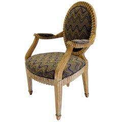 Donghia John Hutton Soleil Style Fluted Armchair in Flame Stich and Raffia