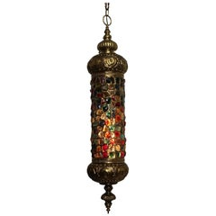 Arabesque Style Brass and Multicolored Jewel Glass Lantern, American, 1940s