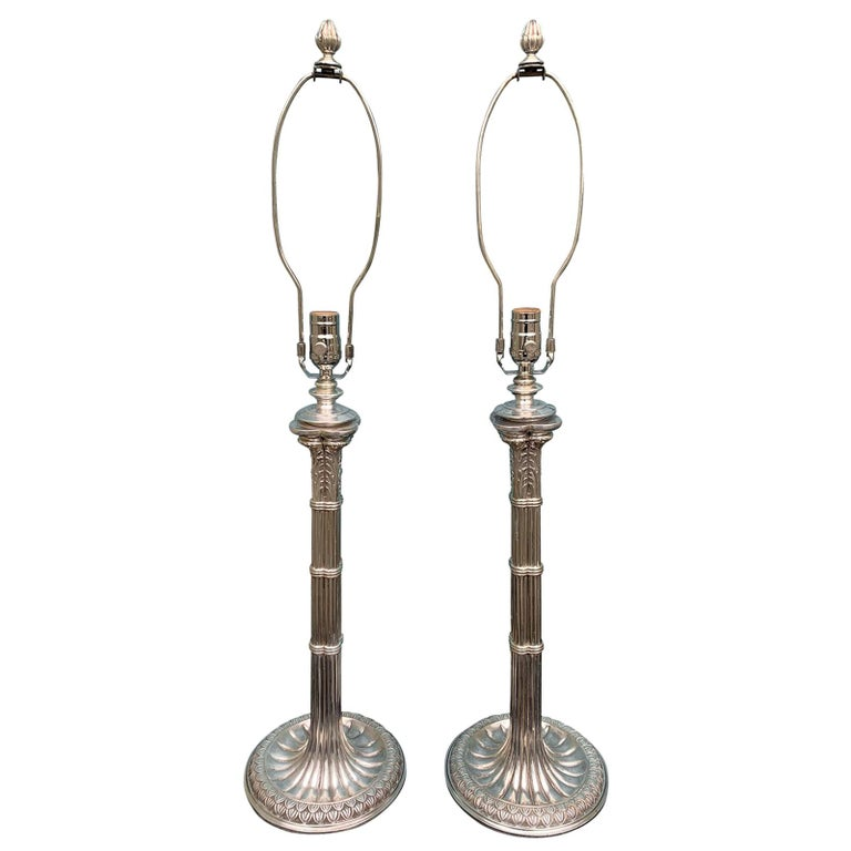 Pair of English Prob. Edwardian Silver Plated Column Lamps, circa 1900 For Sale
