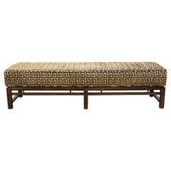 Edward Wormley Dunbar Mid-Century Modern Long Walnut Bench in Lee Jofa Velvet