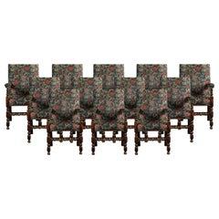 Set of Twelve Jacobean Oak Dining Chairs