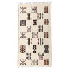 Hand-Loomed Berber Tribal Wool Throw Rug, Cream, Red, Green, in Stock
