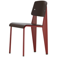 Jean Prouvé Standard Chair SP in Teak Brown and Red for Vitra