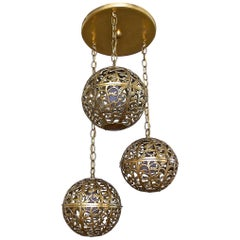 Trio Pierced Brass Asian Ceiling Light Pendant Chandelier