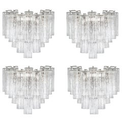 Two Pairs of Large Murano Tronchi Sconces, circa 1970s
