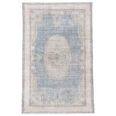 Turkish Handmade Sparta Carpet, White and Blue