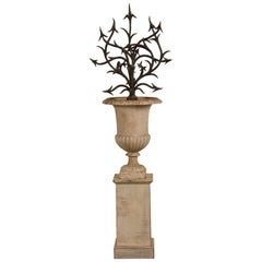 Antique French Hand Forged Iron Sculpture Set in an Iron Urn France, circa 1880