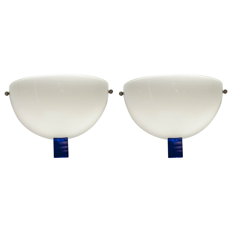 "Pair of Venini Lattimo Murano Glass Italian ""Victor"" Sconces, 1991"