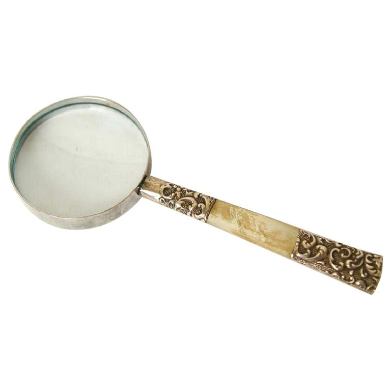 Victorian Sterling Silver and Mother of Pearl Magnifying Glass For Sale