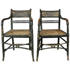 Pair of Regency Original Painted Faux Bamboo Armchairs