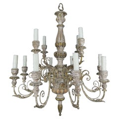 '12' Light French Painted Carved Wood Chandelier