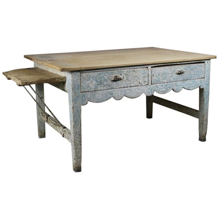 Early 19th Century Original Painted Pine Sycamore Top Bakers Table For Sale