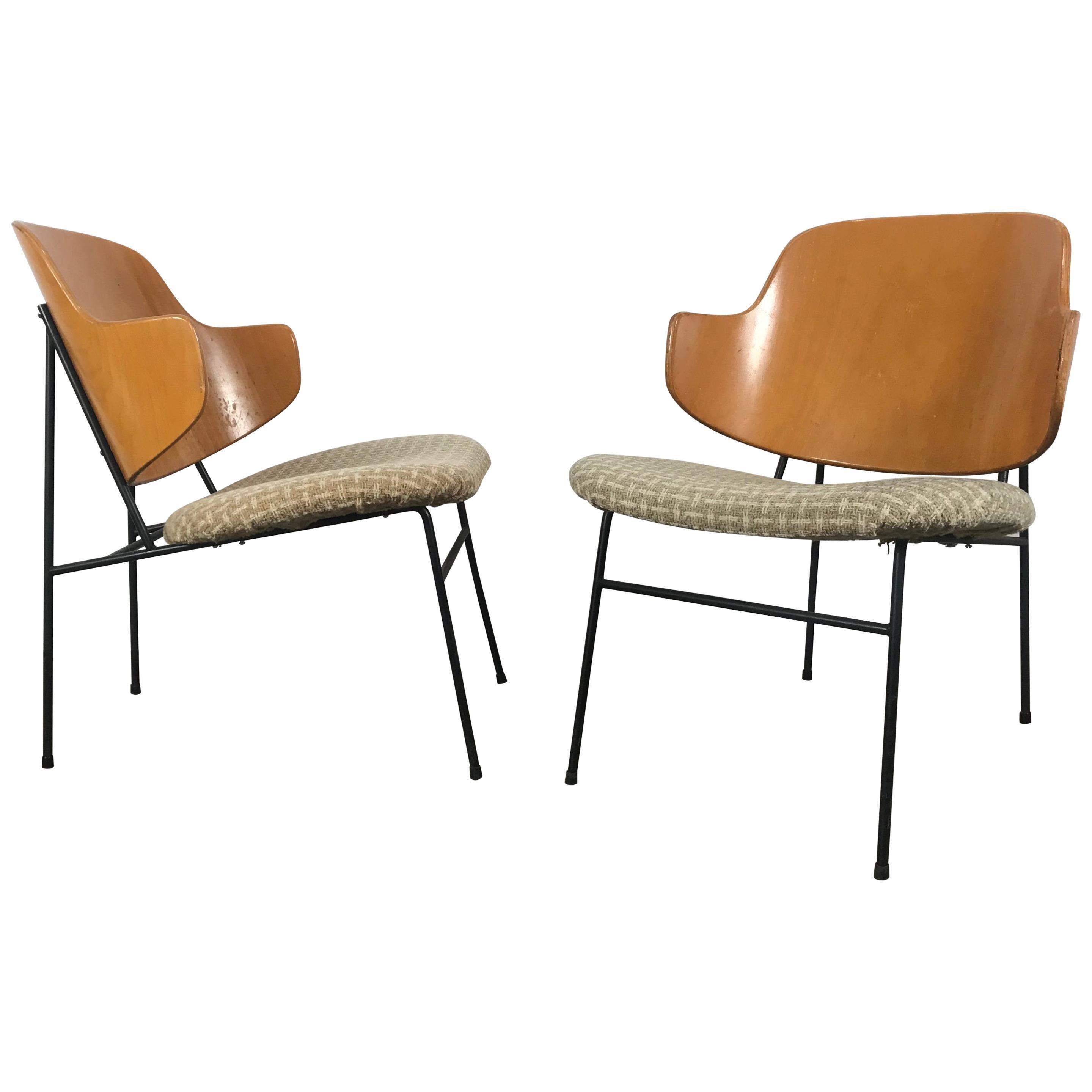 Ib Kofod-Larsen Pair of Penguin Easy Chairs, Denmark