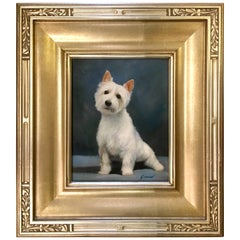 Original Oil Painting Scottish West Highland Terrier by French Artist Girard