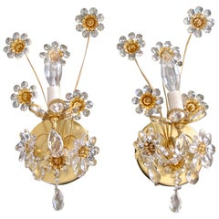 Pair of Palwa Crystal and Gilt Brass Floral Flower Wall Sconces