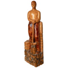 Strong and Robust Wooden Art Deco Statue of Quarry Worker, Germany, 1920s