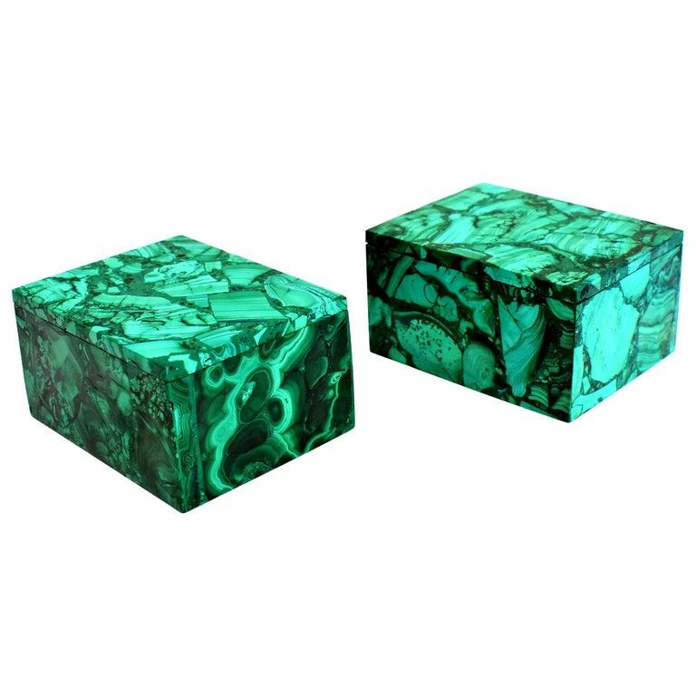 Pair of Natural Malachite Boxes, Full Slab Gemstone Box For Sale