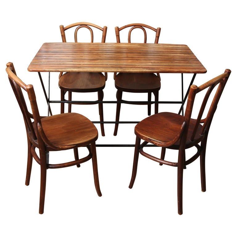 Country French Folding Campaign Table and Four Chairs For Sale
