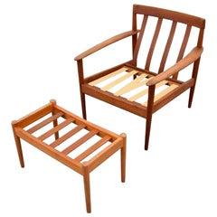 Danish Grete Jalk Lounge Chair and Ottoman, Denmark, 1960