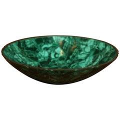 Tessellated Malachite Bowl with Bronze Trim