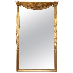 Hollywood Regency Style Carved and Gilded Swag Mirror