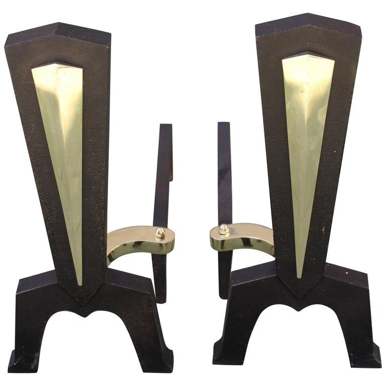 Pair of Brass Andirons Attributed to Donald Deskey For Sale