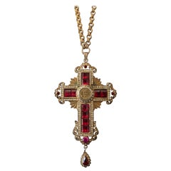 Ruby and Diamond Cross Medallion, Italy, circa 1940
