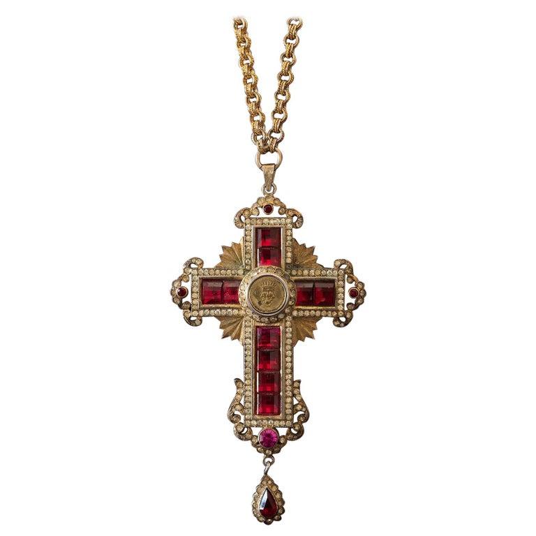 Ruby and Diamond Cross Medallion, Italy, circa 1940 For Sale