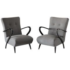 Pair of Modern Wool Armchairs, Italy, circa 1960