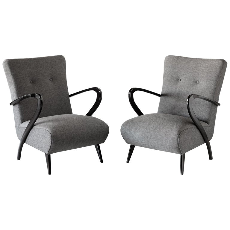 Pair of Modern Wool Armchairs, Italy, circa 1960 For Sale