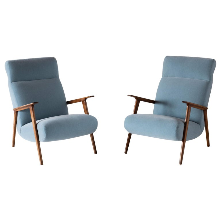 Pair of Mohair and Cherrywood Armchairs, Italy, circa 1960 For Sale
