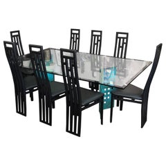 Double Pedestal Dining Room Table and 8 Chairs