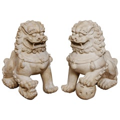 Pair of Mid Century Natural Bisque Foo Dogs