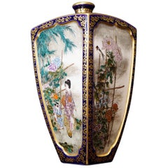 Satsuma Square Vase, Kinkozan, with Flowers and Figures, circa 1890