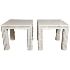 Pair of Faux Bamboo Midcentury End Tables