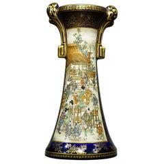 Satsuma Vase by Kinkozan, Daily Life and Flowers, circa 1890