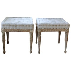 18th Century Swedish Gustavian Pair of Foot Stools or Benches in Original Paint