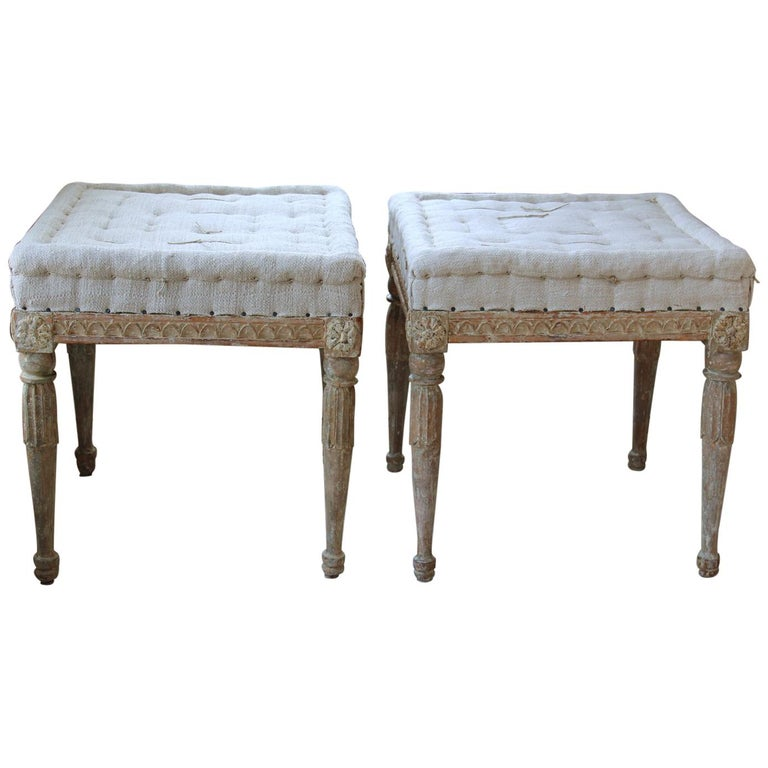 18th Century Swedish Gustavian Pair of Foot Stools or Benches in Original Paint For Sale