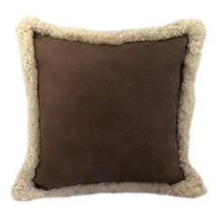 Outback Brown Leather and Shearling Sheepskin Pillow