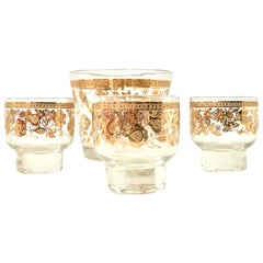 Mid-20th Century Glass and 22-Karat Gold Drinks Set by, Culver Ltd. Set of Six
