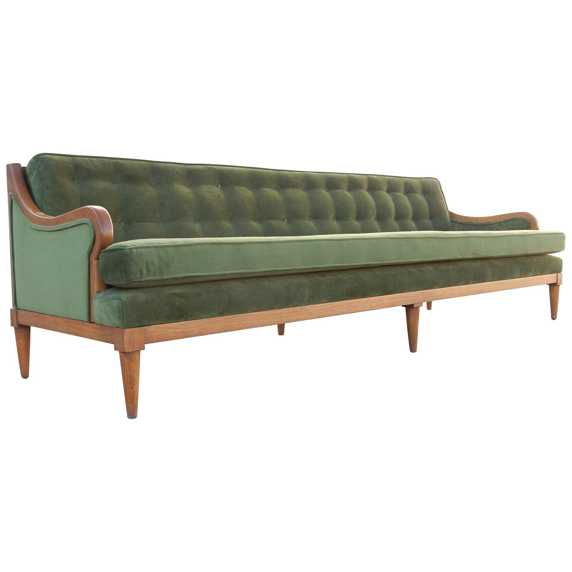 luscious mid century modern green velvet sofa for sale at 1stdibs rh 1stdibs com velvet sofa for sale victoria velvet sofa for sale near me