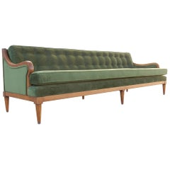 Luscious Mid-Century Modern Green Velvet Sofa