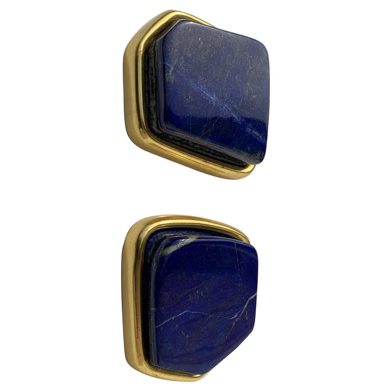 Pair of Large Lapis Lazuli Decorative Paperweights For Sale
