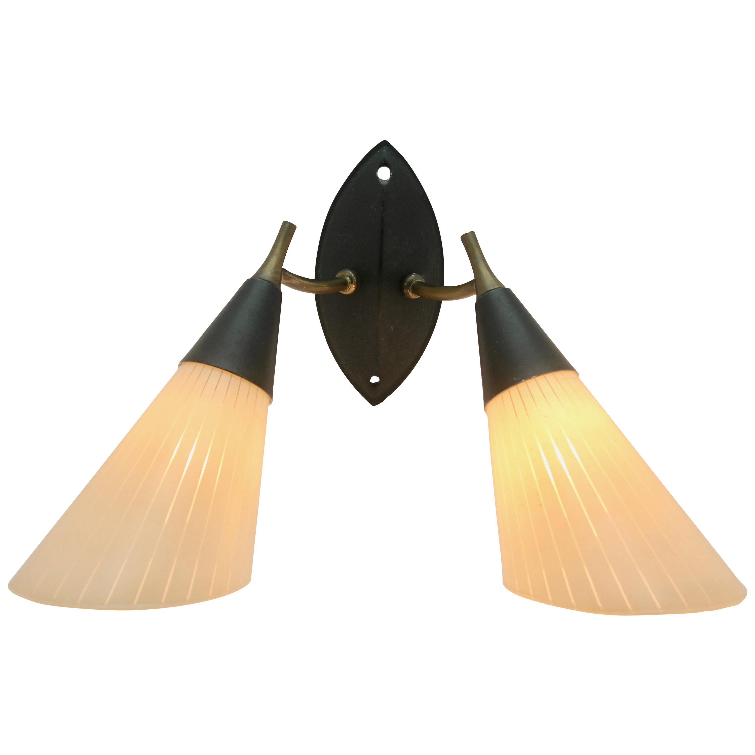 Midcentury Double Wall Sconce With Searchlight Lampshades For Sale