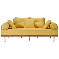 Bespoke Two-Seat Sofa, Brass & Reclaimed Hardwood Frame, P. Tendercool (in Stock