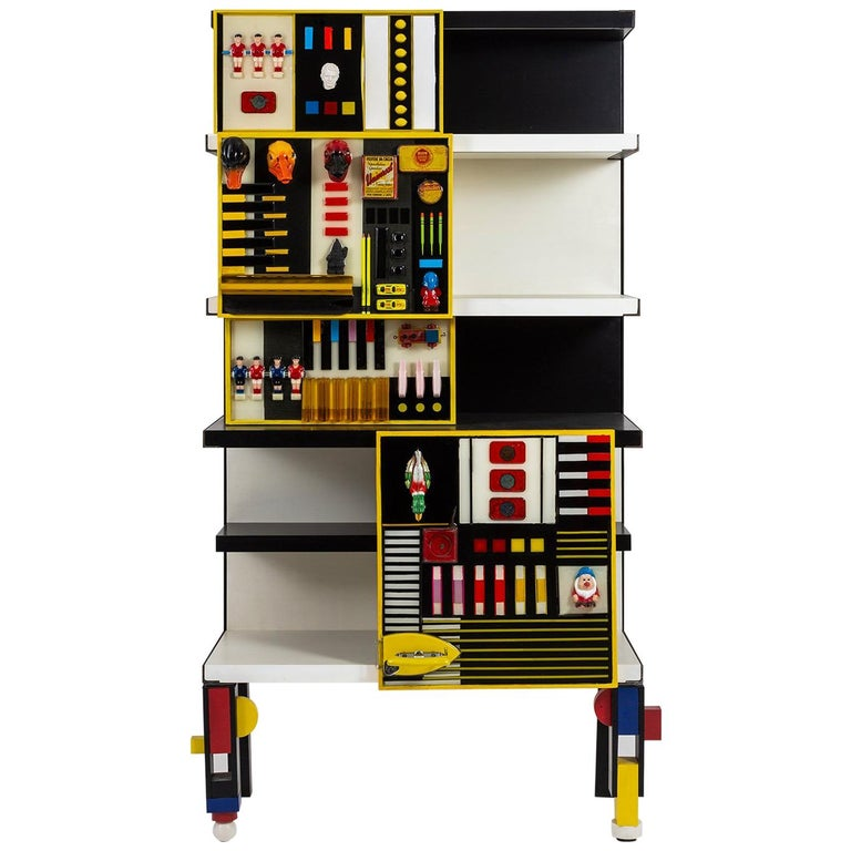 """""""Contaminazioni Geometriche"""" Library in Black and Yellow Wood by Emanuela Crotti For Sale"""