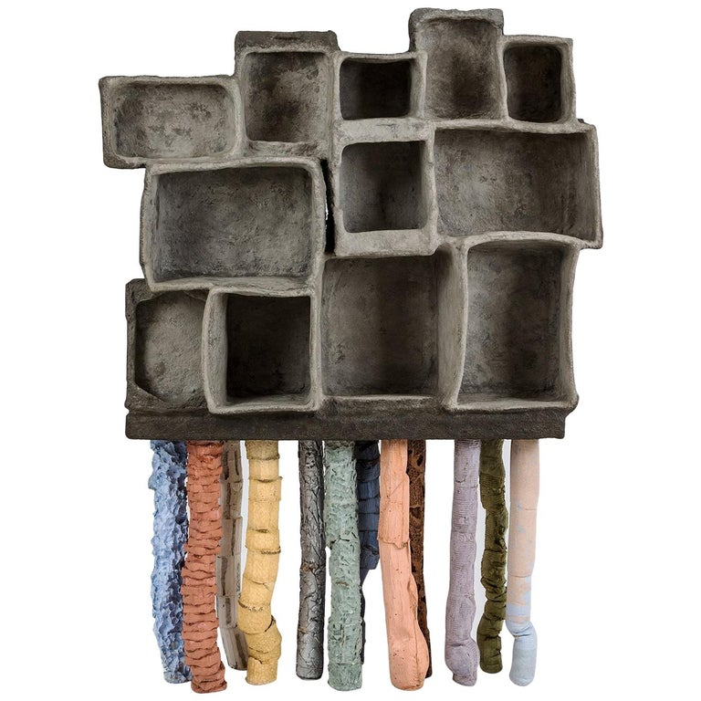 Fossil Cabinet in Concrete and Multicolor Paper by Nacho Carbonell For Sale