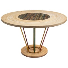 Tavolo Tornio Round Table in Resin and Wood by Emanuela Crotti