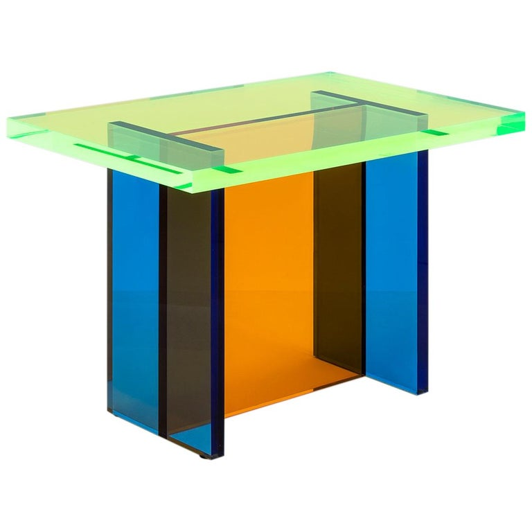 Neon Table in Blue, Green and Orange Stacked Acrylic by Umzikim For Sale