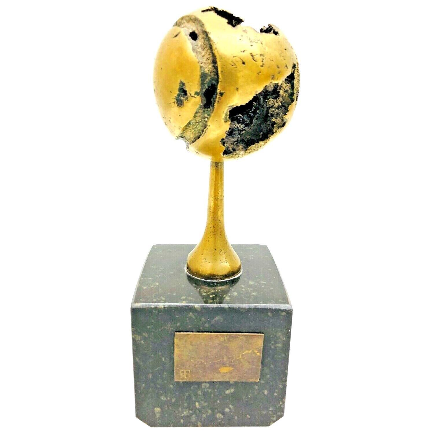 Brutalist Signed Tennis-Ball Bronze Sculpture on Marble Base, German, 1970s